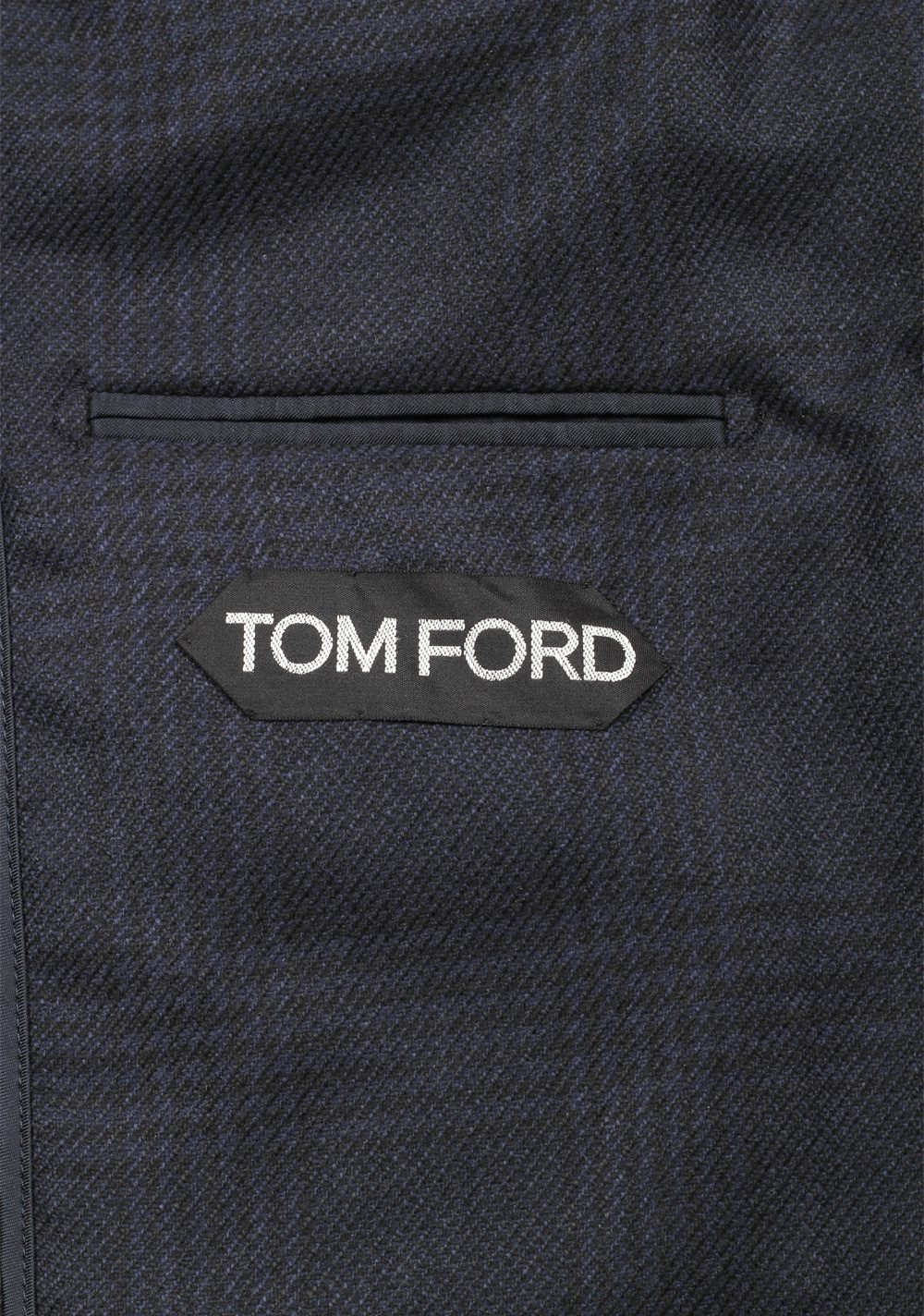TOM FORD Shelton Checked Blue Sport Coat Size 48 / 38R U.S. In Silk Cashmere | Costume Limité
