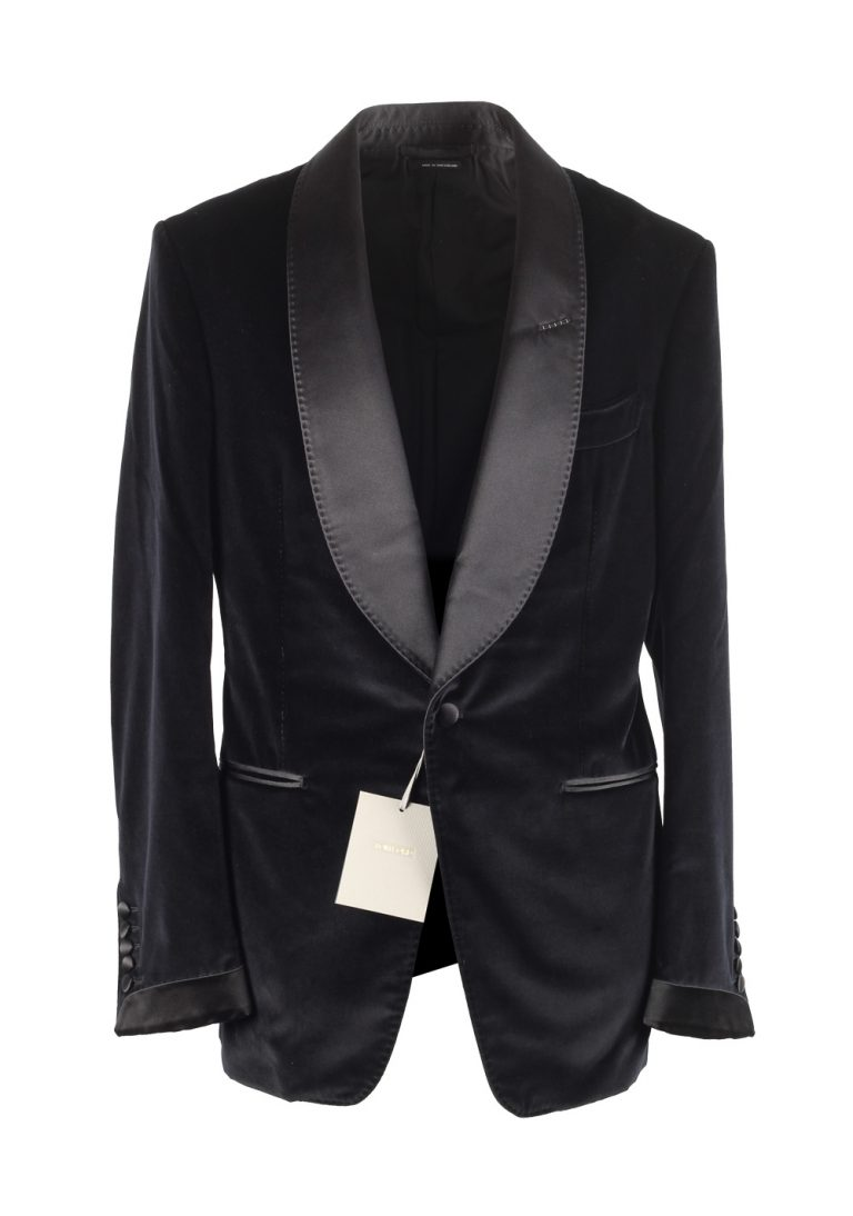 TOM FORD Shelton Black Velvet Tuxedo Dinner Jacket Size 48 / 38R U.S. - thumbnail | Costume Limité