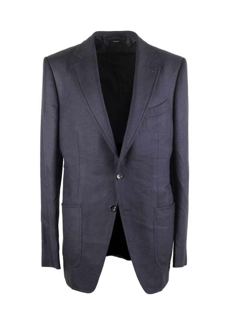 TOM FORD O'Connor Blue Checked Sport Coat Size 50L / 40L U.S. Fit Y - thumbnail | Costume Limité