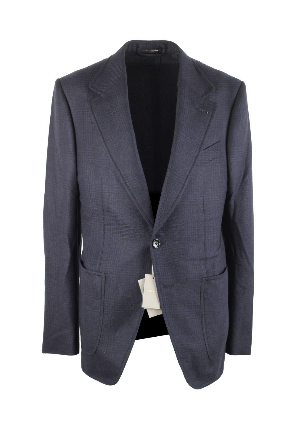 TOM FORD Shelton Blue Checked Sport Coat Size 54L / 44L U.S. | Costume Limité