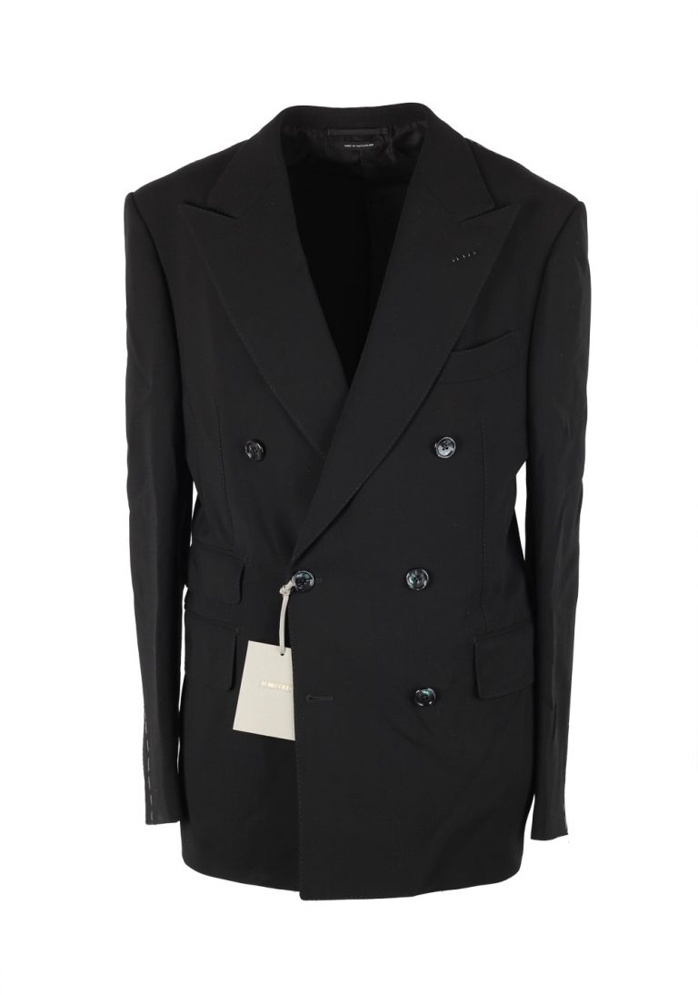 TOM FORD Shelton Double Breasted Solid Black Suit Size 46 / 36R U.S. - thumbnail | Costume Limité