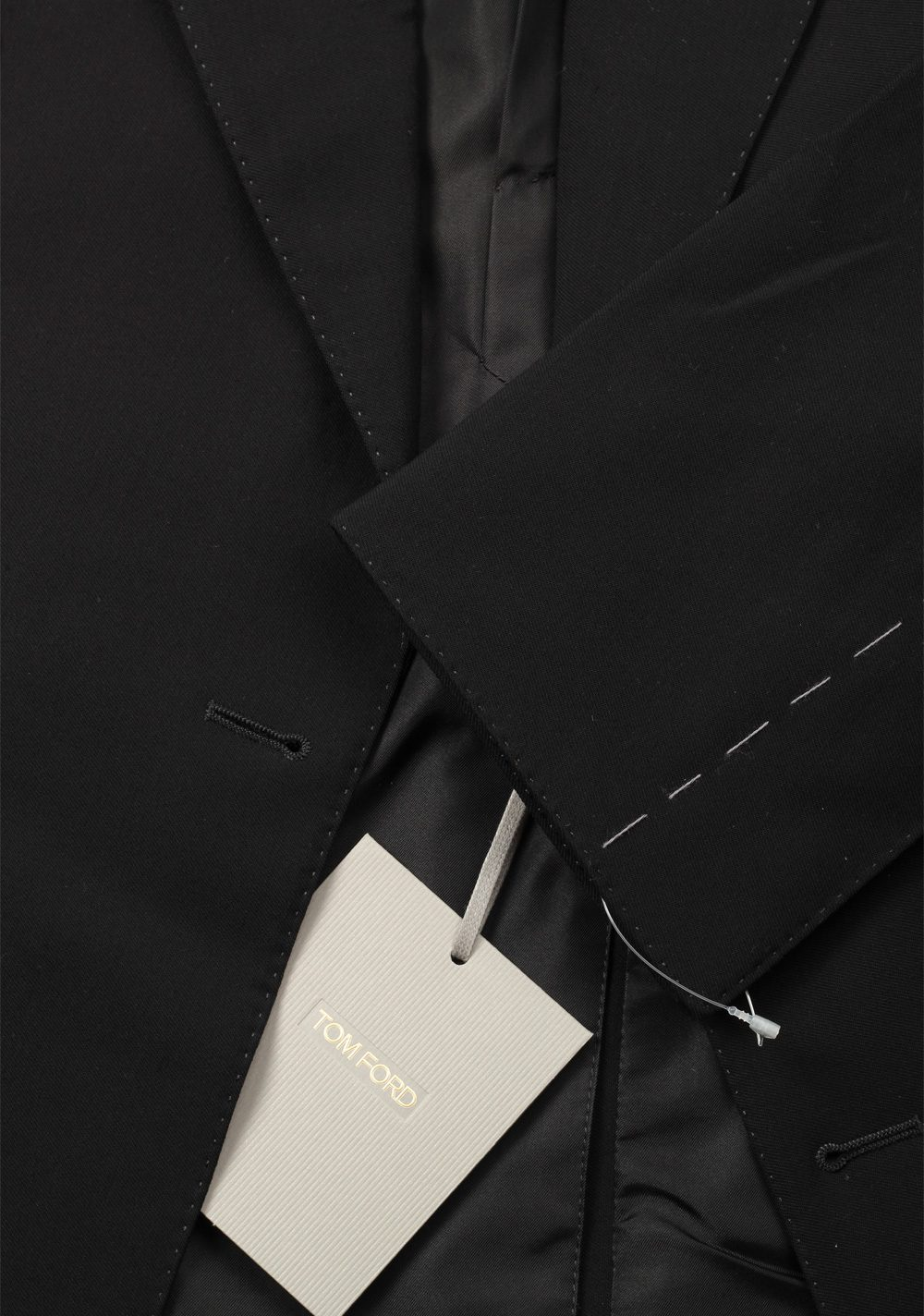 TOM FORD Shelton Double Breasted Solid Black Suit Size 46 / 36R U.S. | Costume Limité