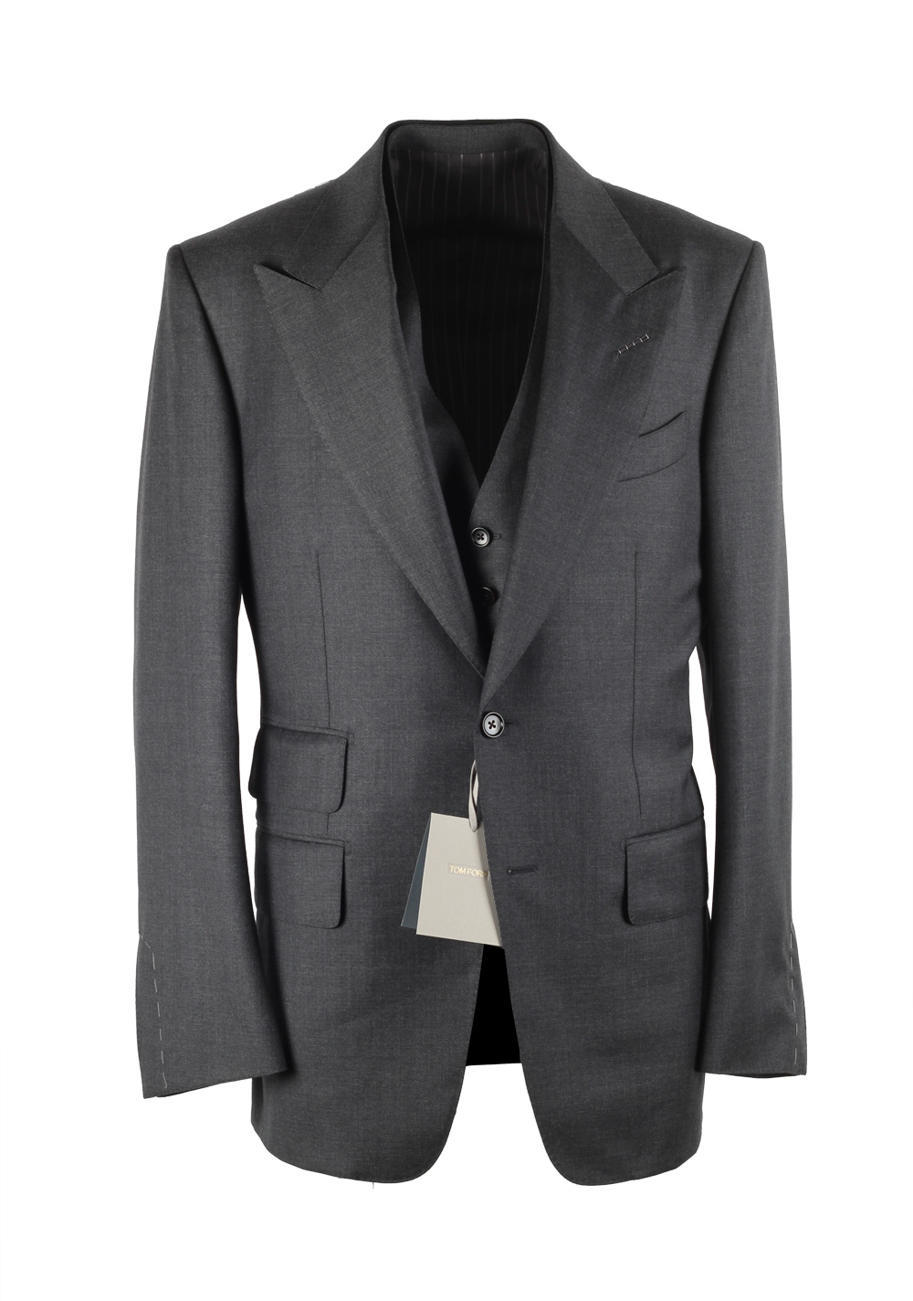 TOM FORD Windsor Gray 3 Piece Suit Size 54 / 44R U.S. Wool Fit A | Costume Limité