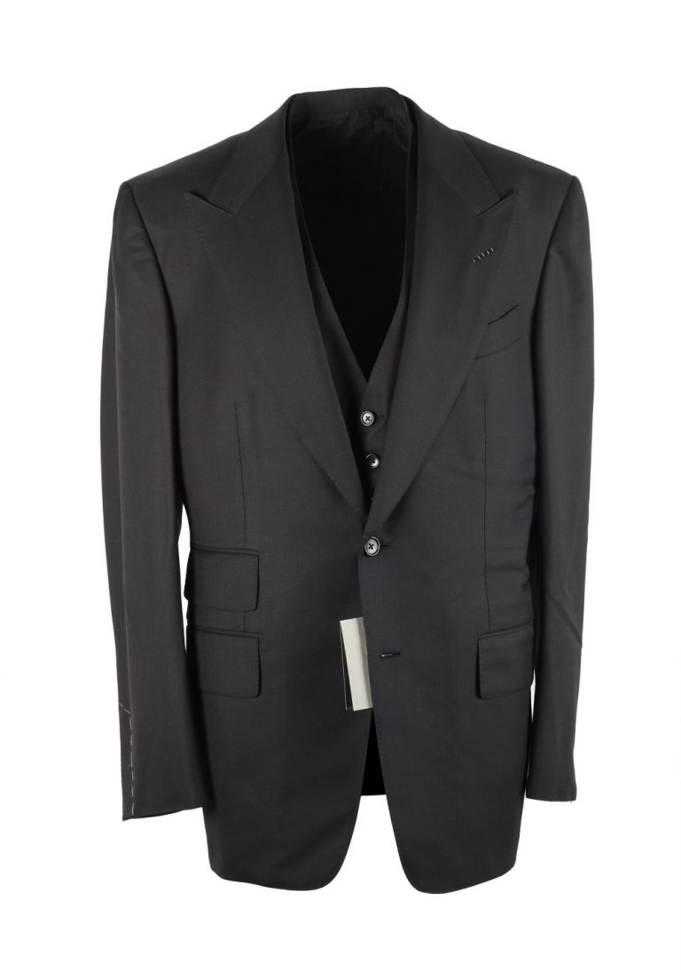 TOM FORD Windsor Black 3 Piece Suit Size 52 / 42R U.S. Wool - thumbnail | Costume Limité