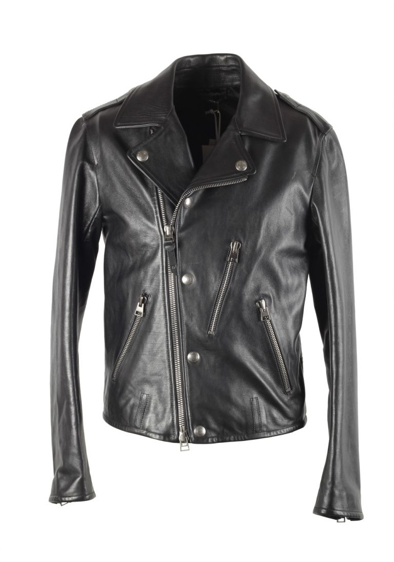 TOM FORD Black Biker Leather Jacket Coat Size 54 / 44R U.S. Outerwear - thumbnail | Costume Limité