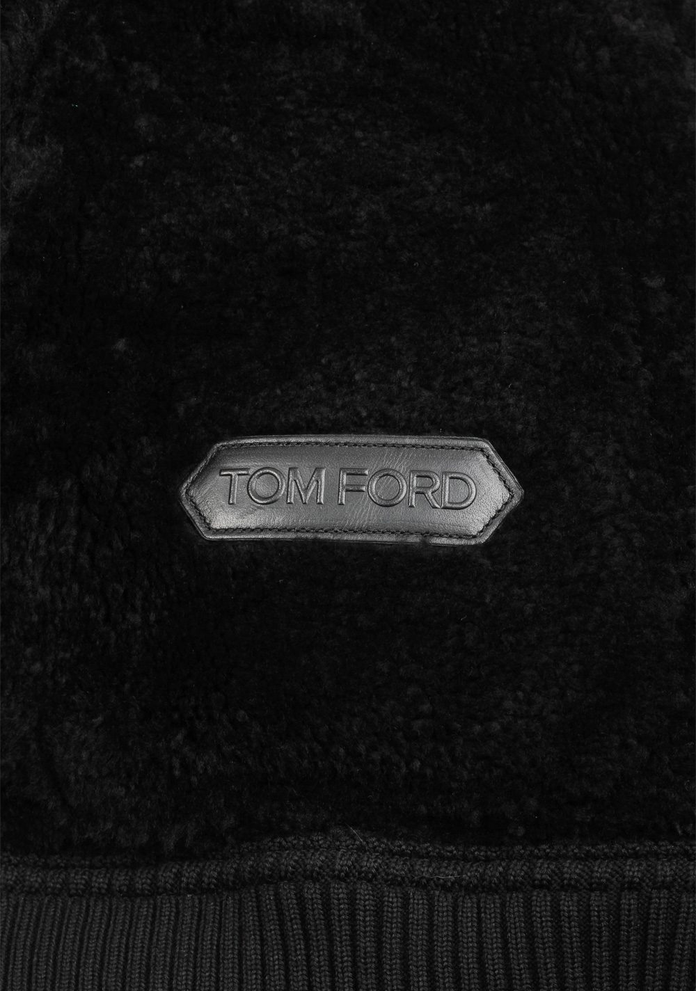 TOM FORD Black Suede Leather Shearling Bomber Jacket Coat Size 52 / 42R U.S. Outerwear | Costume Limité