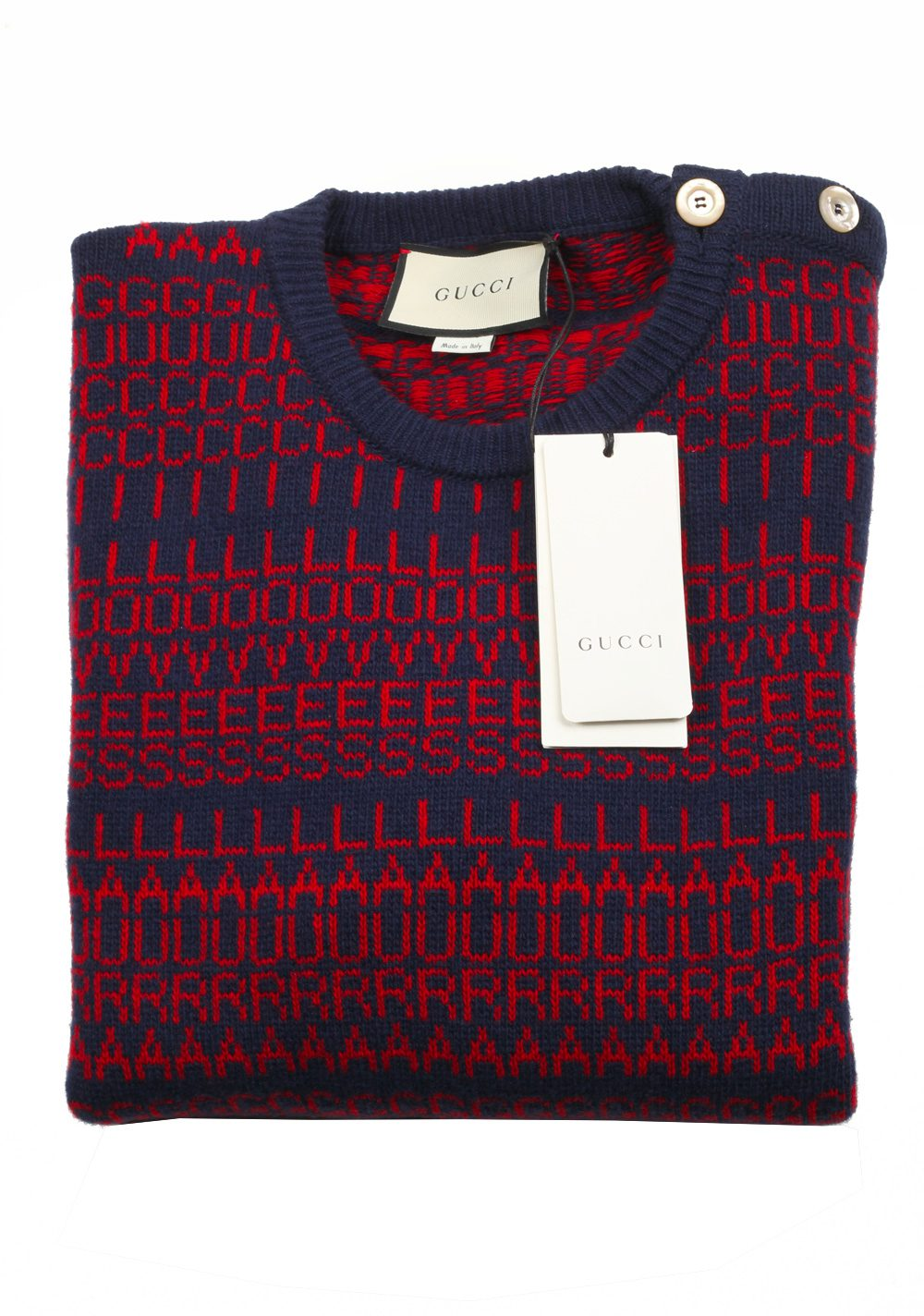 Gucci Blue Crew Neck Gucci Loves Laura Sweater Shirt Size XL / 40R U.S. | Costume Limité