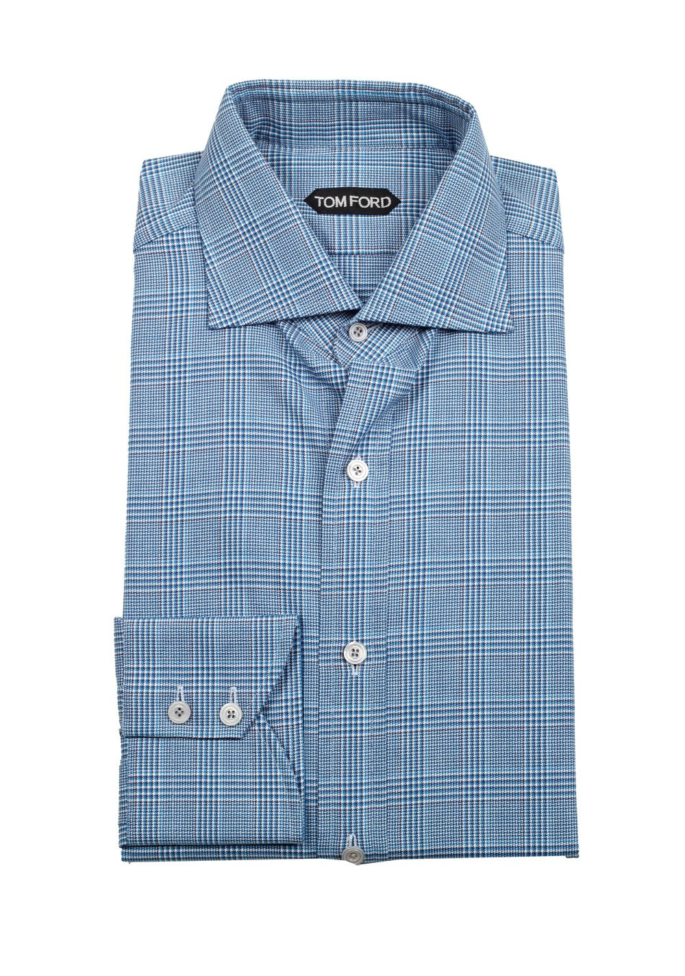 TOM FORD Checked White Blue Shirt Size 41 / 16 U.S.   Costume Limité