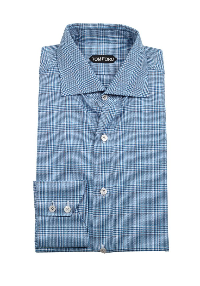TOM FORD Checked White Blue Shirt Size 41 / 16 U.S. - thumbnail | Costume Limité