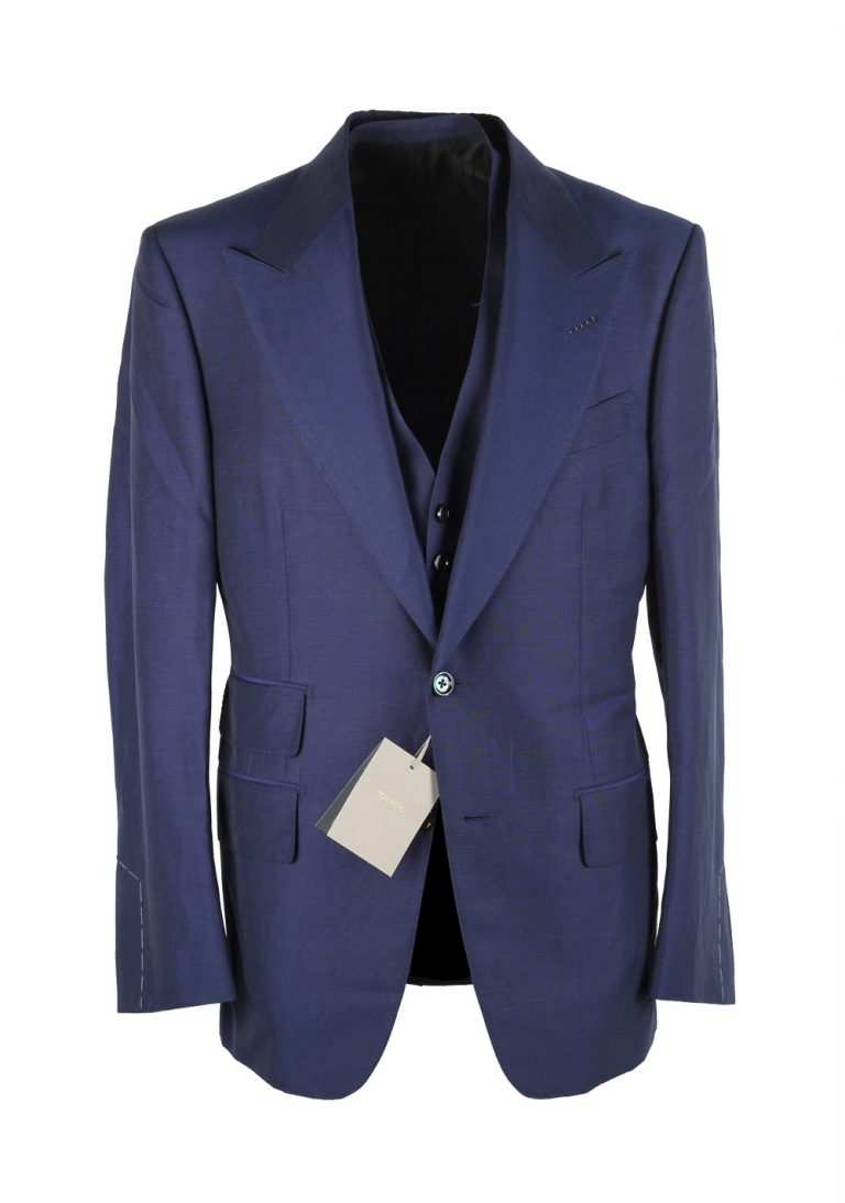 TOM FORD Windsor Solid Blue 3 Piece Suit - thumbnail | Costume Limité