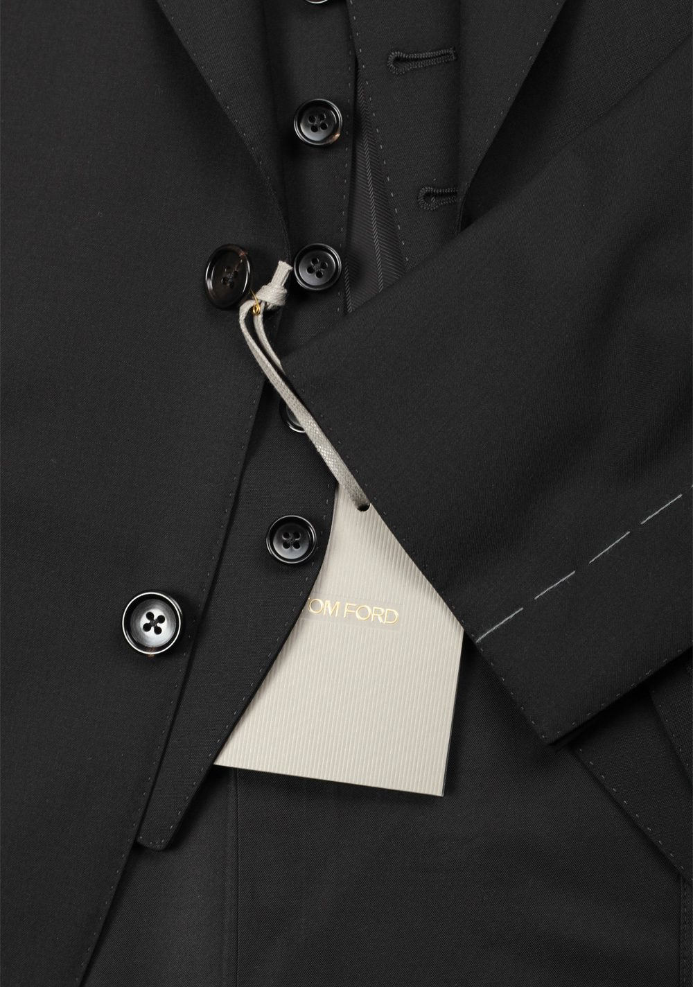 TOM FORD Windsor Signature Solid Black 3 Piece Suit | Costume Limité