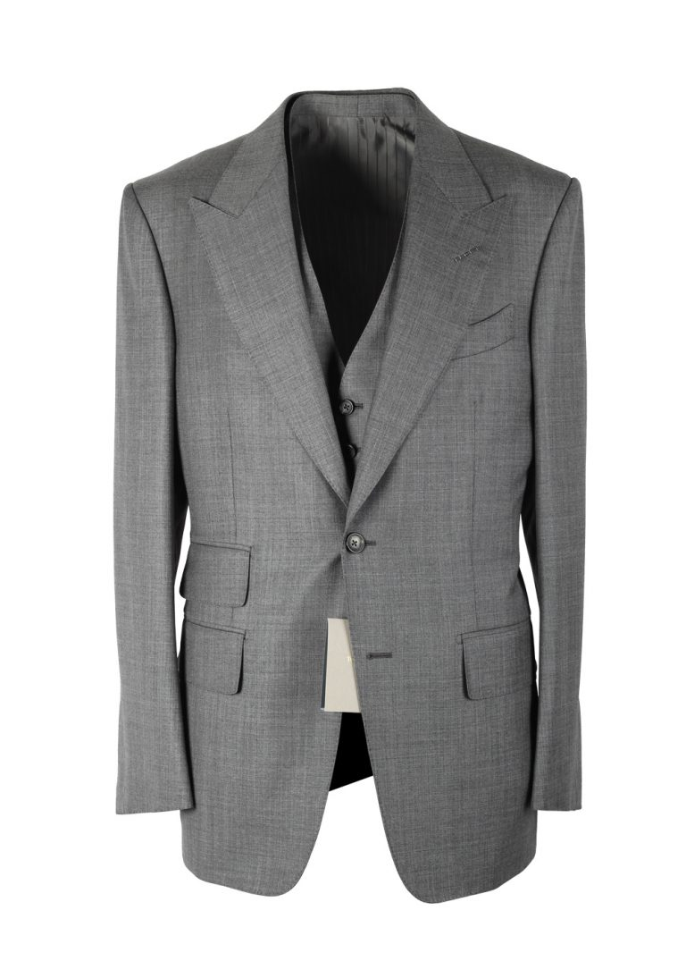 TOM FORD Windsor Signature Solid Gray 3 Piece Suit - thumbnail | Costume Limité