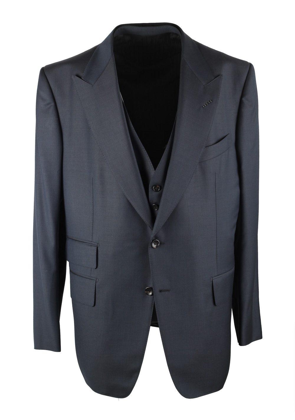 TOM FORD Windsor Blue 3 Piece Suit Size 58 / 48R U.S. Wool Fit A | Costume Limité