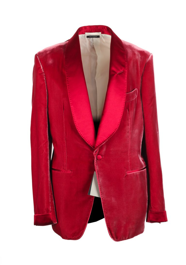 TOM FORD Shelton Shawl Collar Velvet Red Sport Coat Tuxedo Dinner Jacket Size Size 48 / 38R U.S. - thumbnail | Costume Limité