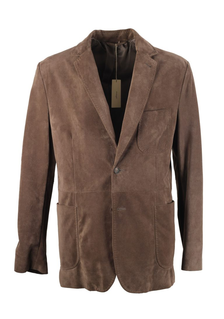Brioni Grayish Brown Suede Sport Coat In Calf Leather - thumbnail | Costume Limité