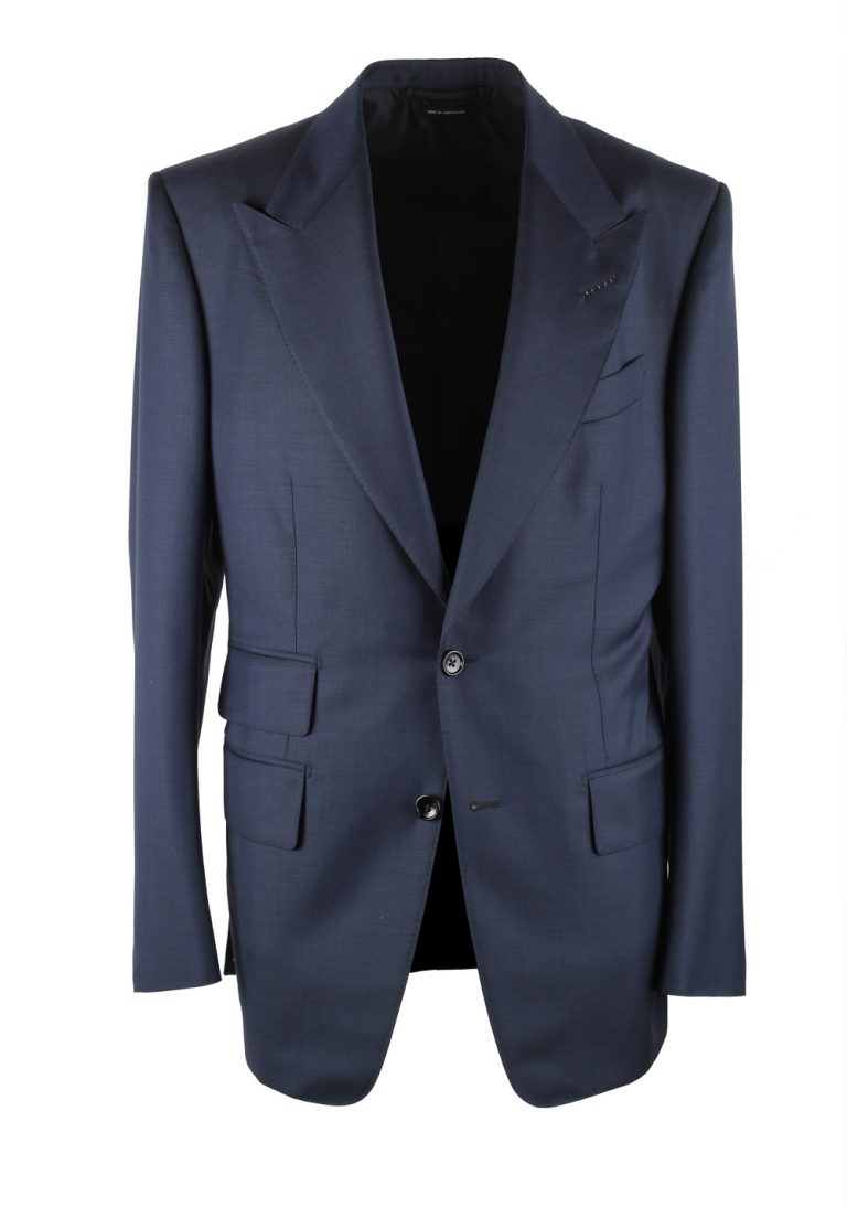 TOM FORD Windsor Solid Blue Suit Size 48 / 38R U.S. Wool Fit A - thumbnail | Costume Limité