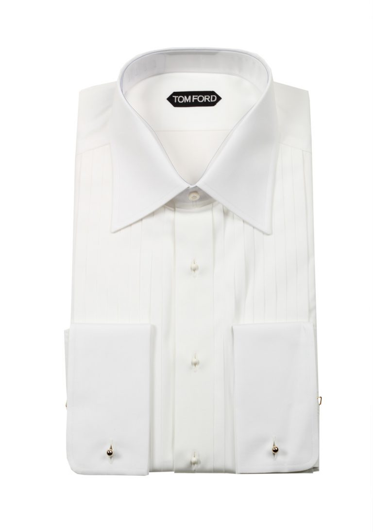 TOM FORD Solid White Signature Tuxedo Shirt With French Cuffs Slim Fit - thumbnail | Costume Limité