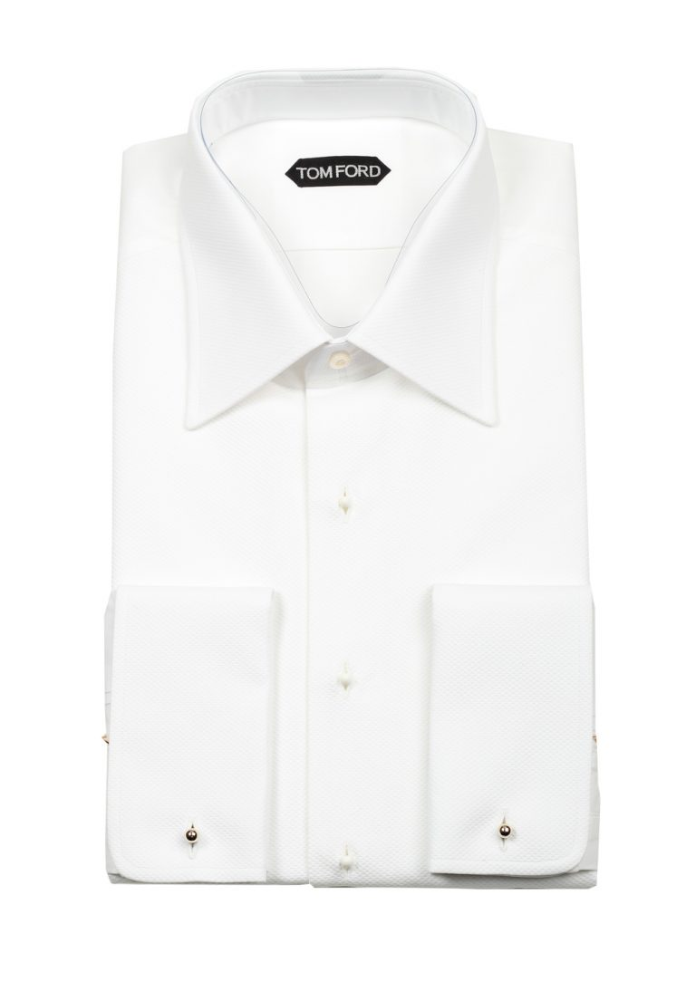 TOM FORD Solid White Pique Tuxedo Shirt With French Cuffs - thumbnail | Costume Limité