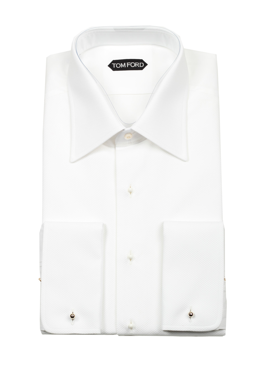 TOM FORD Solid White Pique Tuxedo Shirt With French Cuffs | Costume Limité