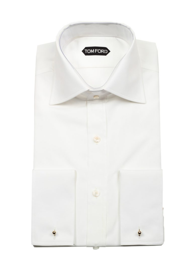 TOM FORD Solid White Dress Shirt French Cuffs Size 41 / 16 U.S. Slim Fit - thumbnail | Costume Limité