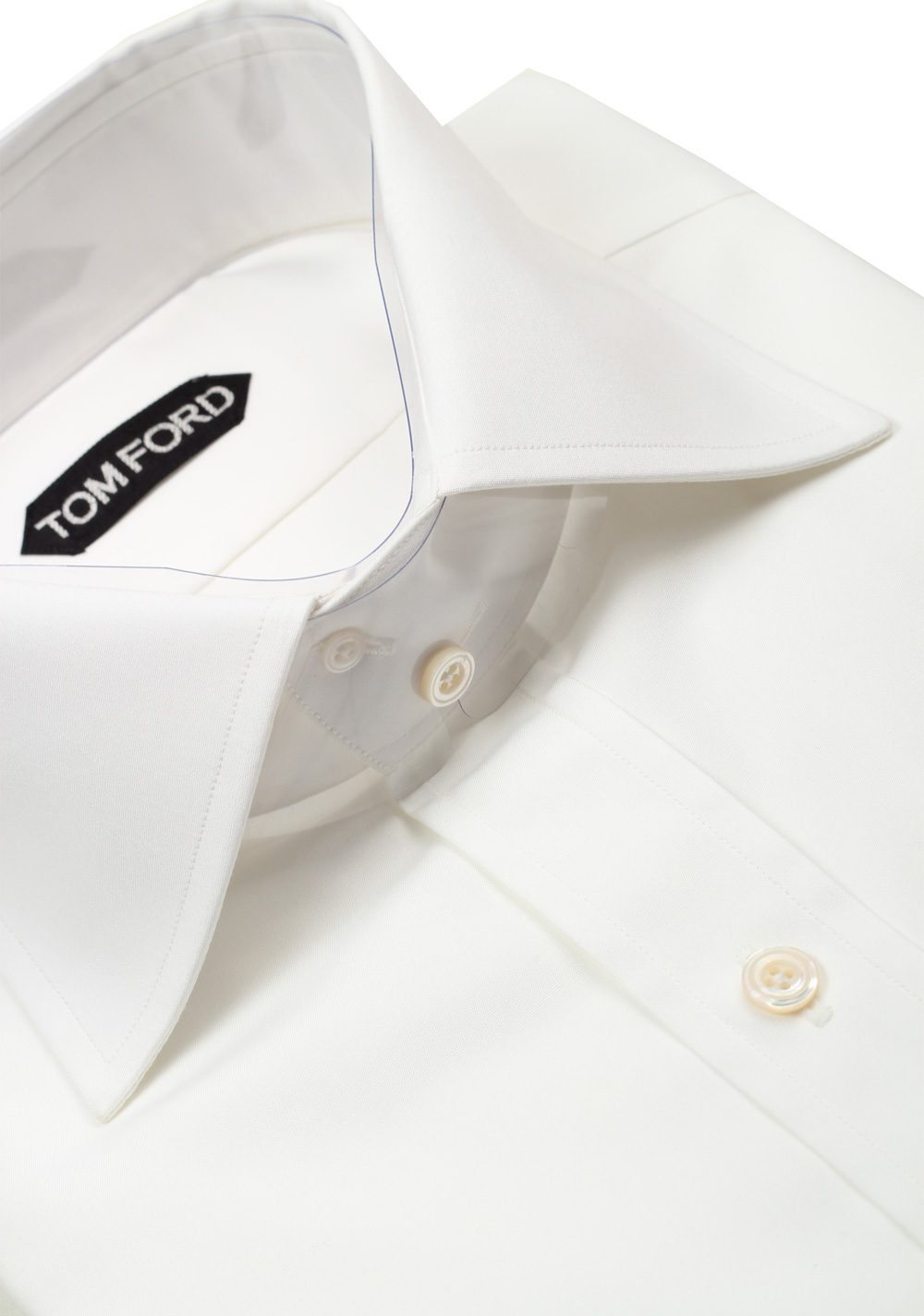 TOM FORD Solid White Dress Shirt French Cuffs Size 41 / 16 U.S. Slim Fit   Costume Limité