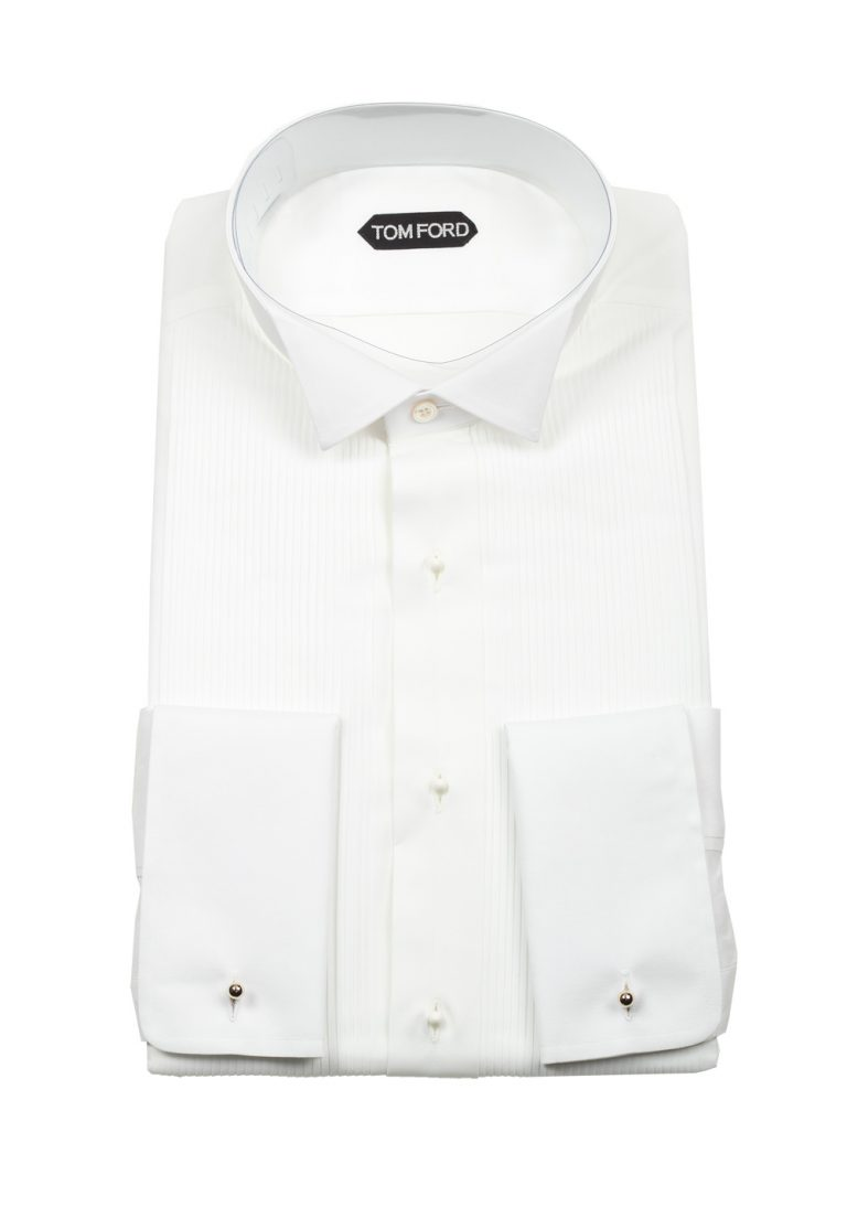 TOM FORD Solid White Signature Tuxedo Shirt With French Cuffs - thumbnail | Costume Limité