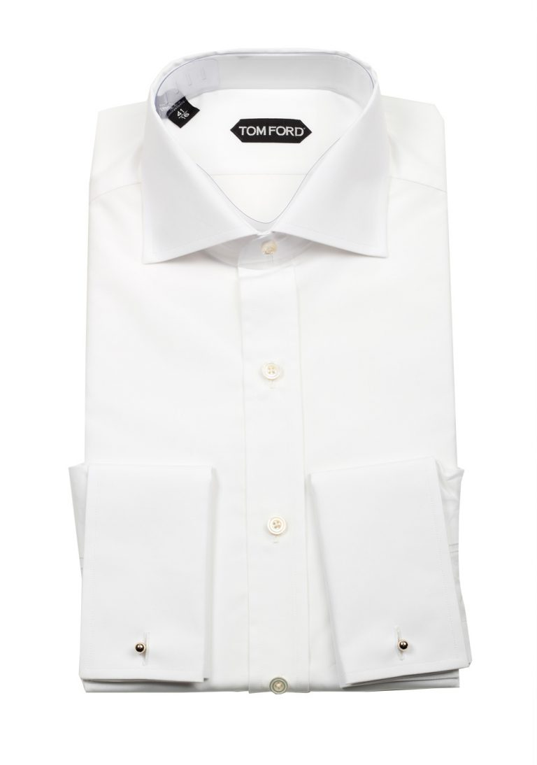 TOM FORD Solid White Dress Spread Shirt French Cuffs Size 41 / 16 U.S. Slim Fit - thumbnail | Costume Limité