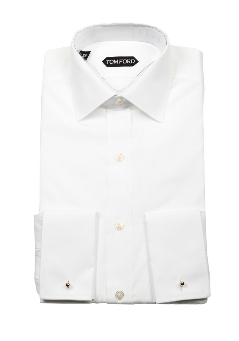 TOM FORD Solid White Dress Spread Shirt French Cuffs Size 38 / 15 U.S. Slim Fit - thumbnail | Costume Limité