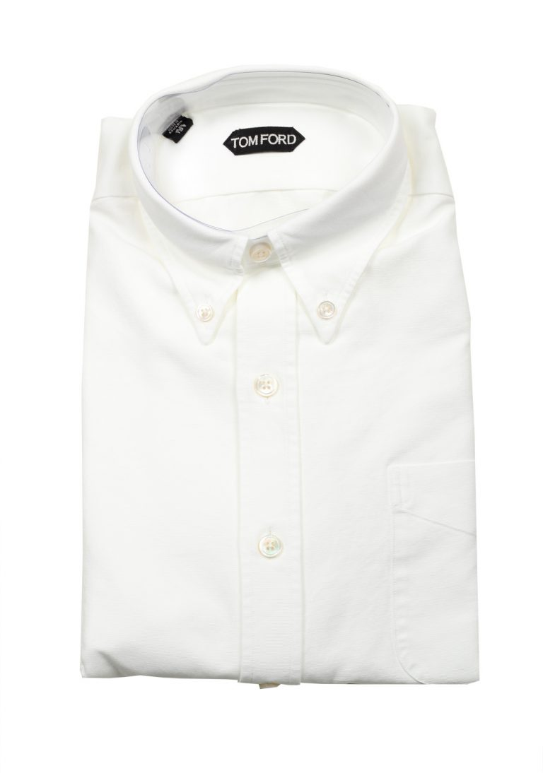 TOM FORD Solid White Casual Button Down Shirt Size 40 / 15,75 U.S. - thumbnail | Costume Limité
