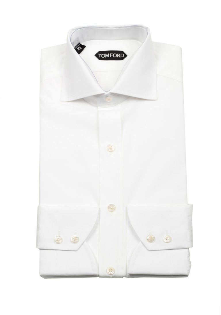 TOM FORD Solid White Dress Spread Shirt Barrel Cuffs Size 38 / 15 U.S. Slim Fit - thumbnail | Costume Limité