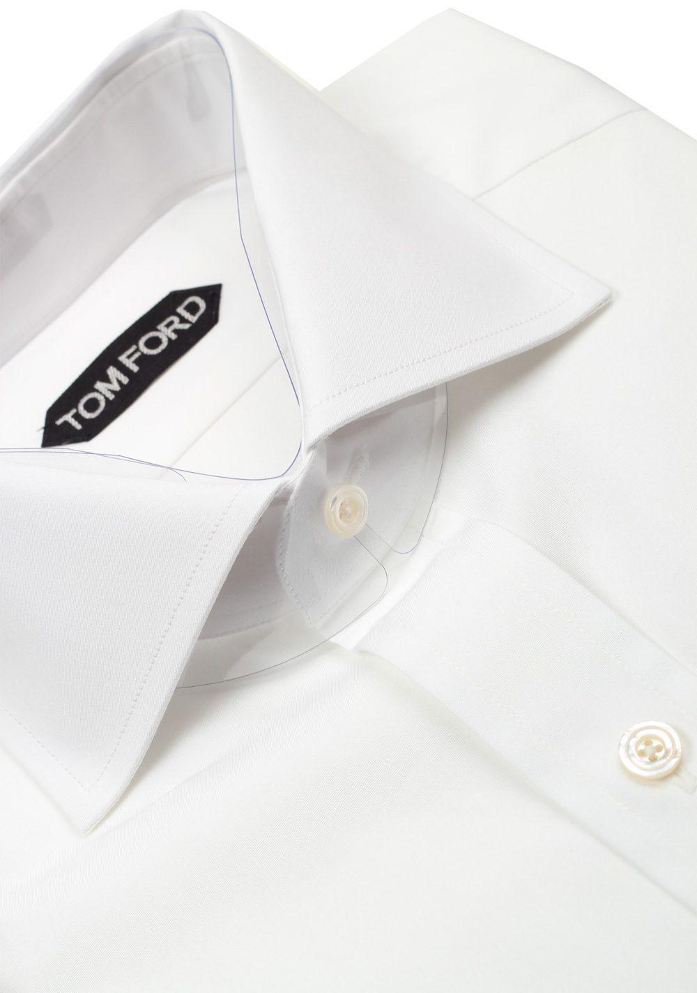 TOM FORD Solid White Dress Spread Shirt Barrel Cuffs Size 38 / 15 U.S. Slim Fit   Costume Limité