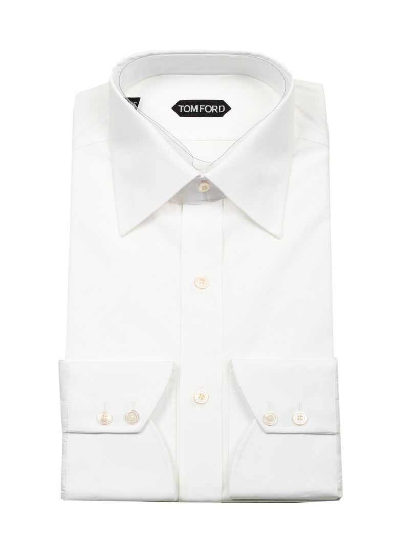 TOM FORD Solid White Signature Shirt Slim Fit - thumbnail | Costume Limité