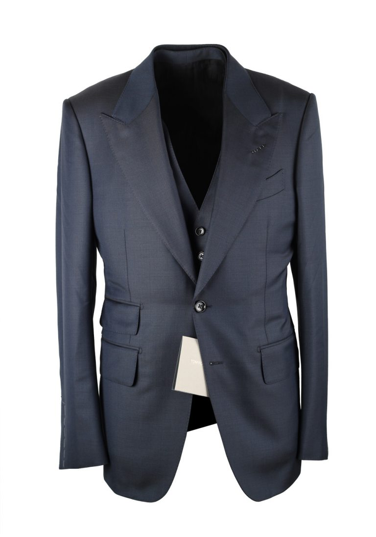 TOM FORD Shelton Blue 3 Piece Suit Size 46C / 36S U.S. - thumbnail | Costume Limité