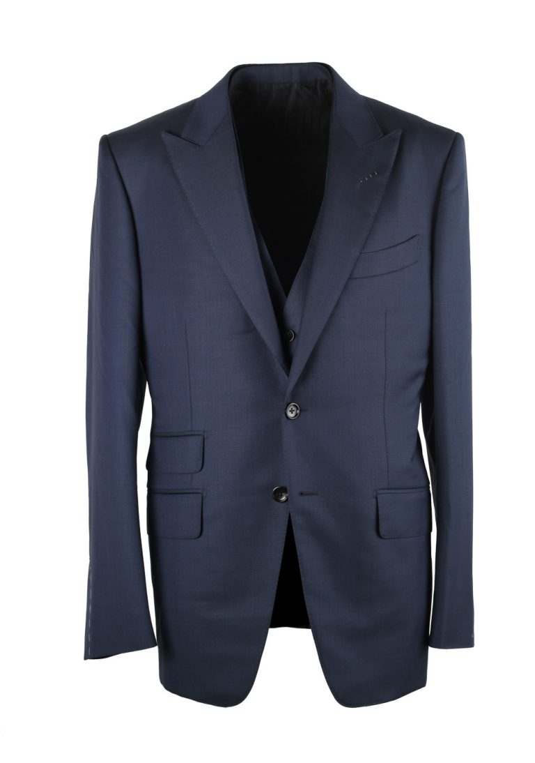 TOM FORD O'Connor Solid Blue 3 Piece Suit Fit Y - thumbnail | Costume Limité