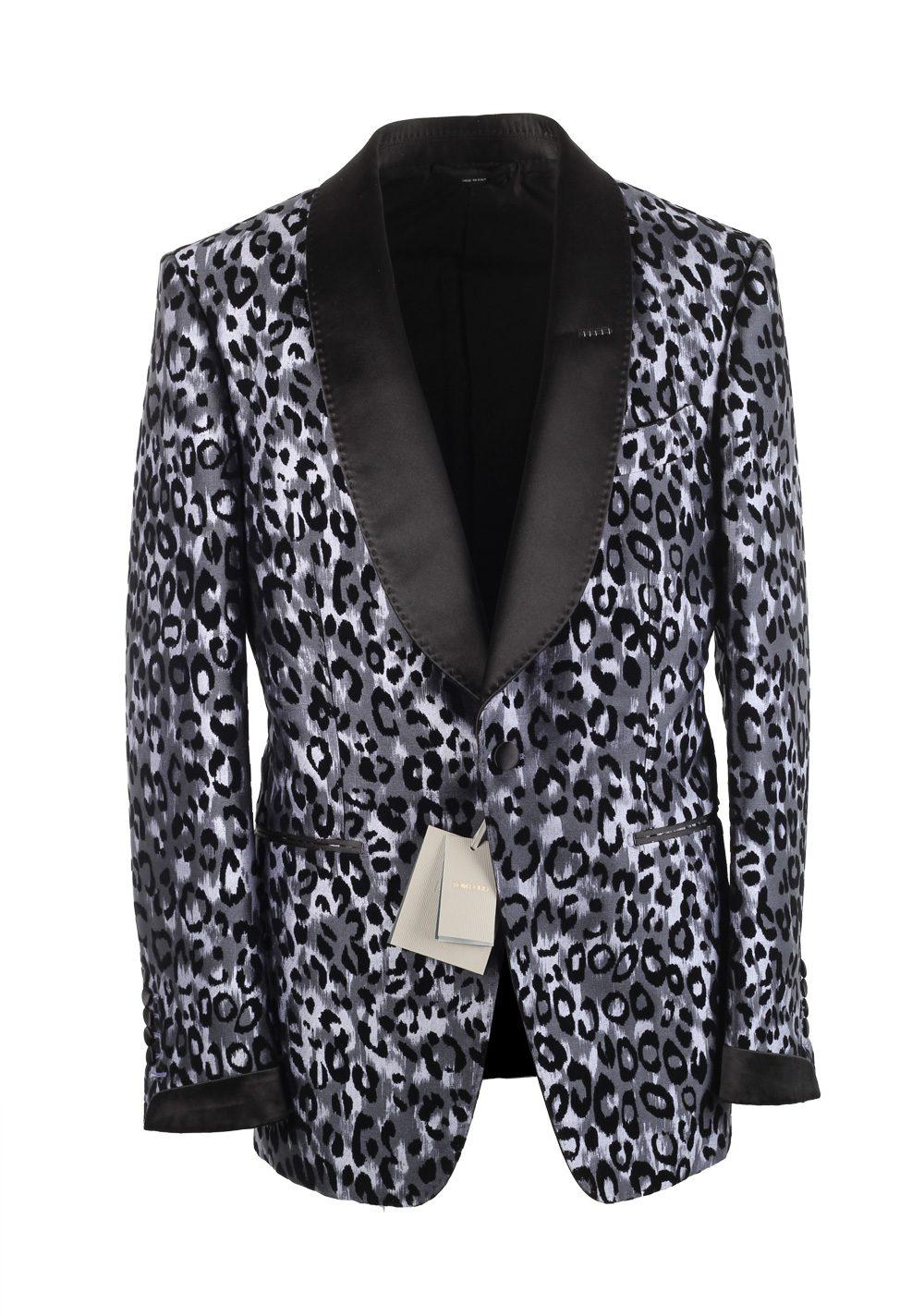 TOM FORD Shelton Leopard Tuxedo Dinner Jacket Size 48 / 38R U.S. In Silk   Costume Limité