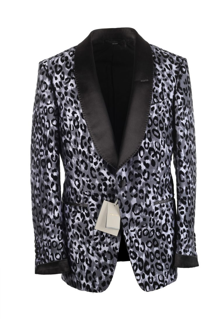 TOM FORD Shelton Leopard Tuxedo Dinner Jacket Size 48 / 38R U.S. In Silk - thumbnail | Costume Limité