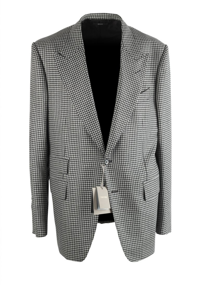 TOM FORD Shelton Houndstooth Black White Suit Size 54 / 44R U.S. - thumbnail | Costume Limité