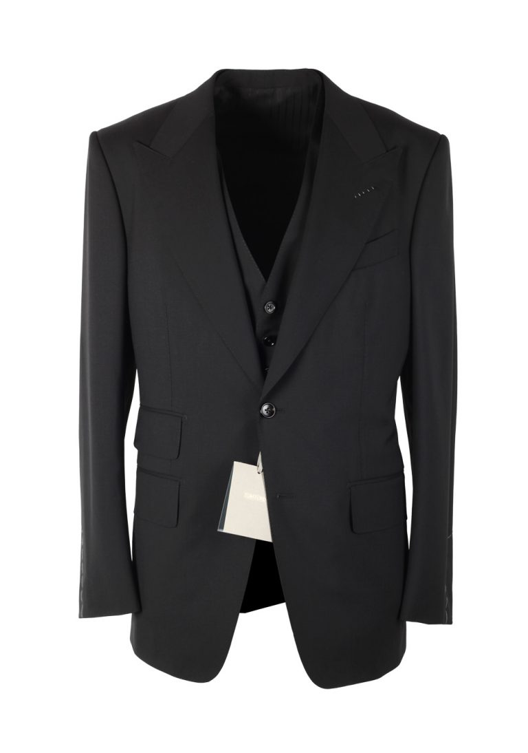 TOM FORD Windsor Black 3 Piece Suit Size 44 / 34R U.S. Wool Fit A - thumbnail | Costume Limité