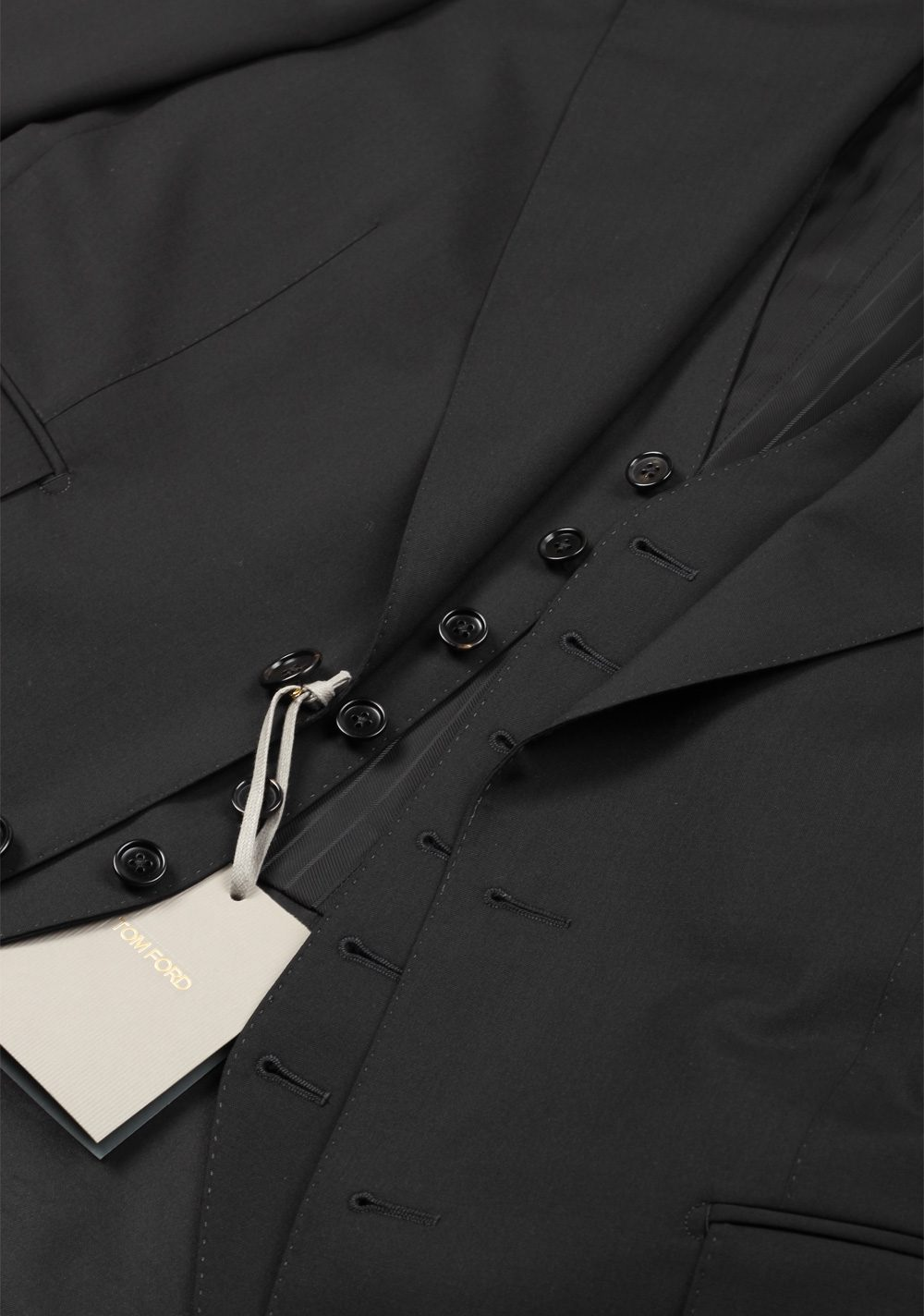 TOM FORD Windsor Black 3 Piece Suit Size 44 / 34R U.S. Wool Fit A   Costume Limité