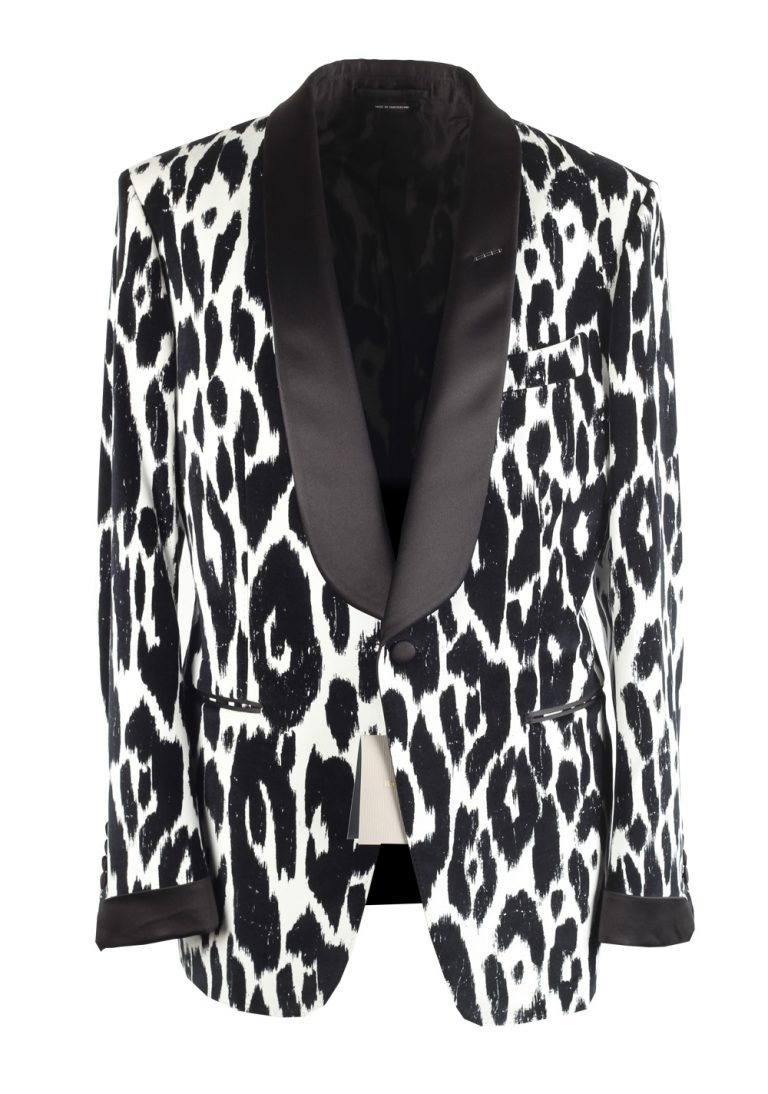 TOM FORD O'Connor Flocked Animalier Tuxedo Dinner Jacket Size 52 / 42R U.S. - thumbnail | Costume Limité