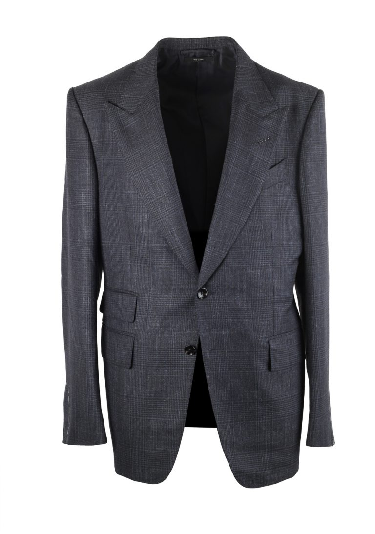 TOM FORD Shelton Blue Gray Checked Suit Size 46 / 36R U.S. - thumbnail | Costume Limité