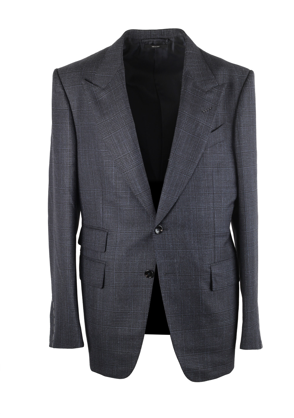 TOM FORD Shelton Blue Gray Checked Suit Size 46 / 36R U.S. | Costume Limité