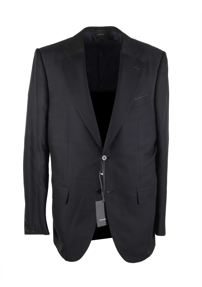 Ermenegildo Zegna Premium Couture Black Sport Coat Size 52 / 42R U.S. In Silk - thumbnail | Costume Limité
