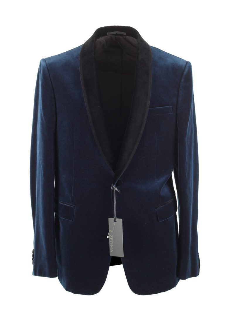 Z Zegna Velvet Blue Dinner Jacket Size 48 / 38R U.S. - thumbnail | Costume Limité