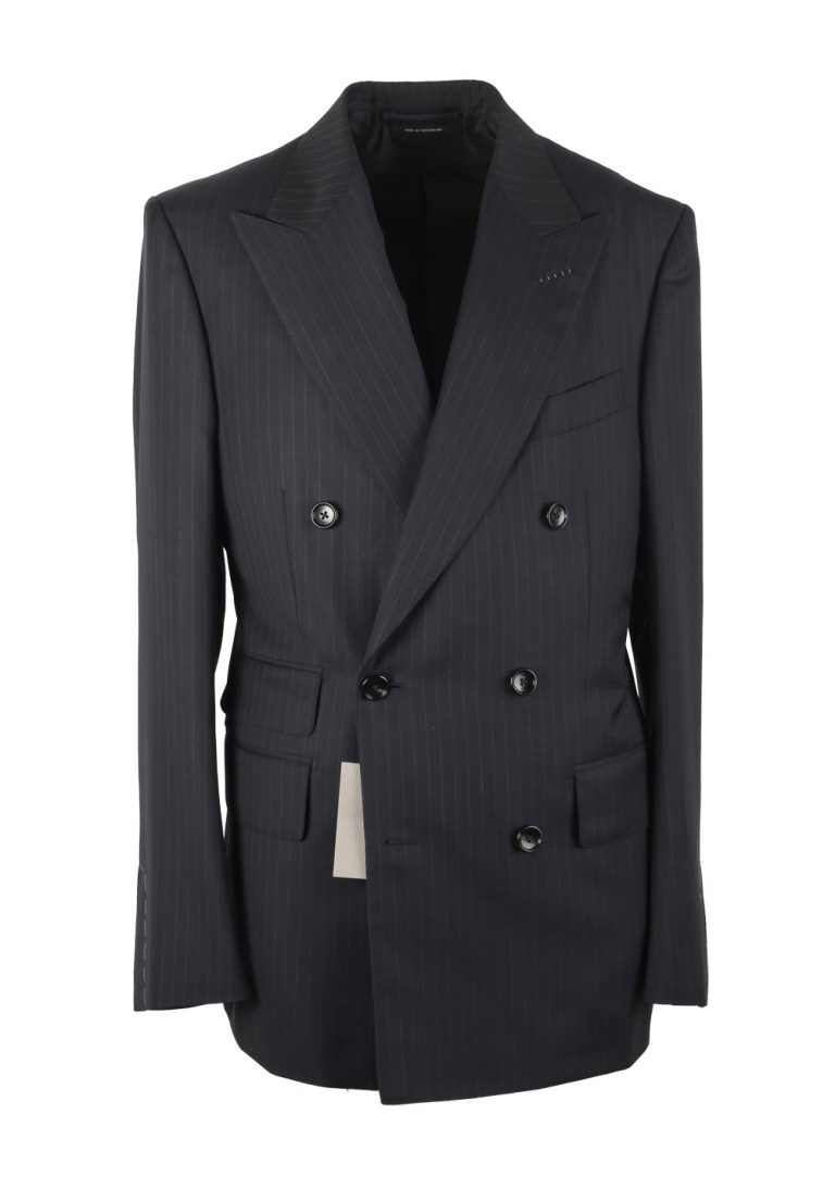 TOM FORD Shelton Blue Striped Double Breasted Suit Size 48 / 38R U.S. - thumbnail | Costume Limité