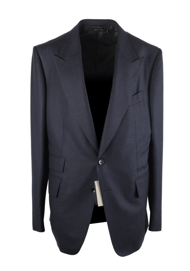 TOM FORD Shelton Checked Blue Suit Size 54 / 44R U.S. In Wool Silk - thumbnail | Costume Limité