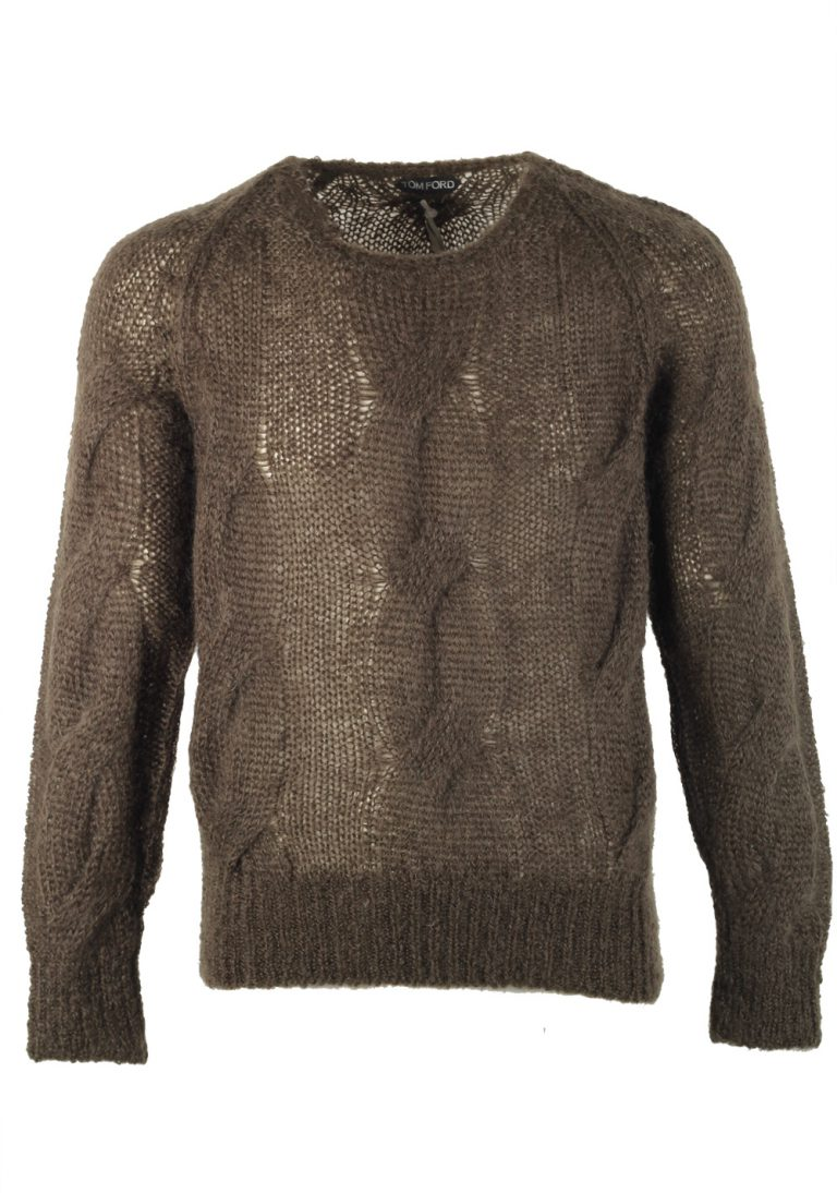 TOM FORD Brownish Green Crew Neck Cable Sweater - thumbnail | Costume Limité
