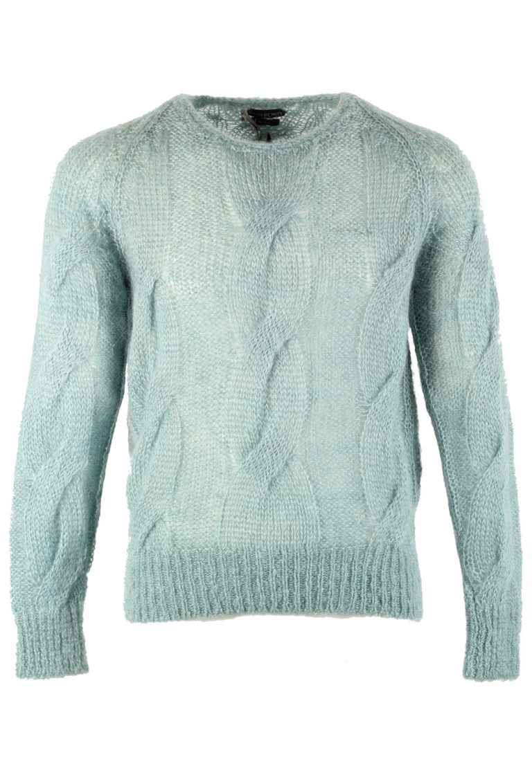 TOM FORD Teal Crew Neck Cable Sweater - thumbnail | Costume Limité