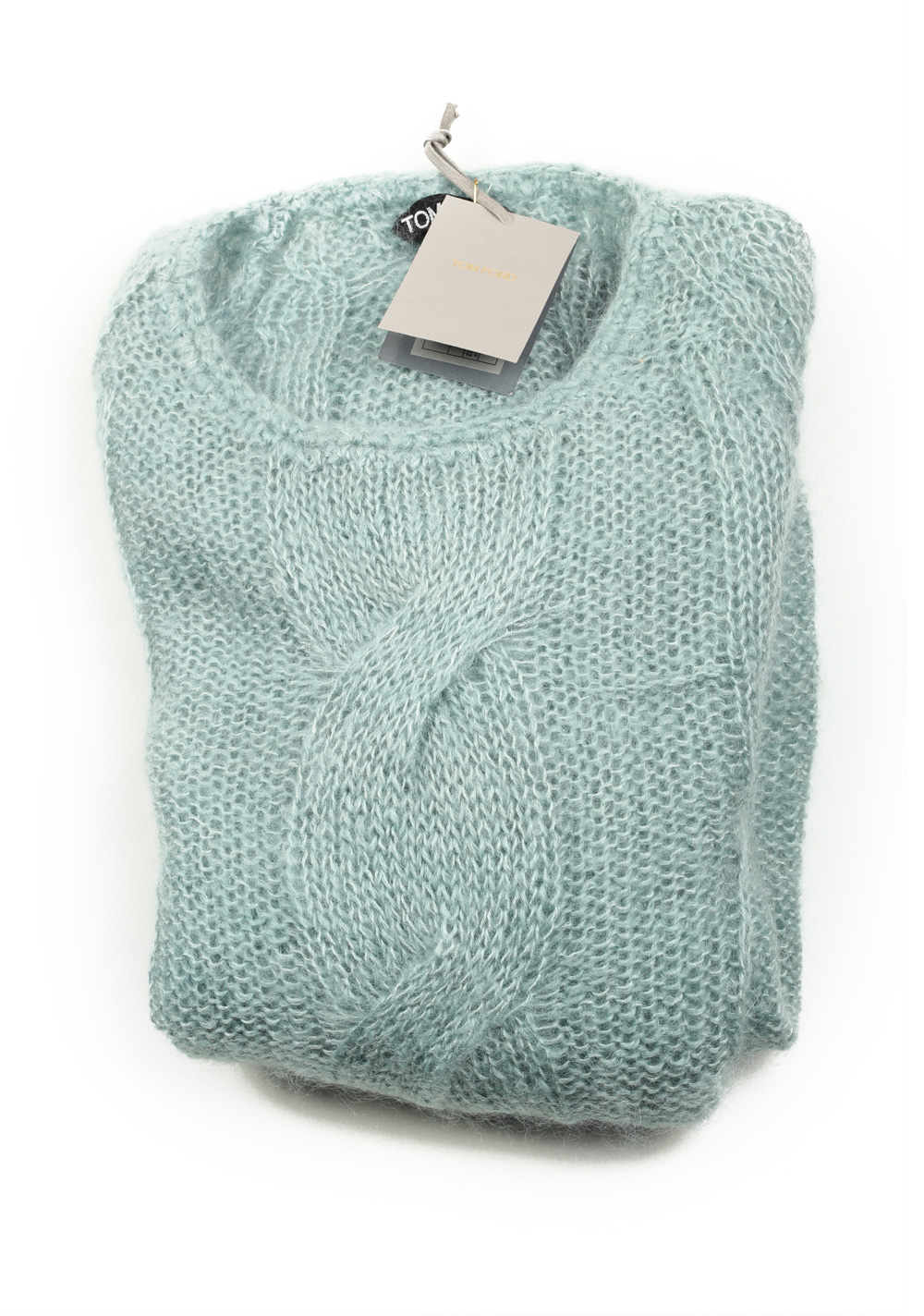 TOM FORD Teal Crew Neck Cable Sweater | Costume Limité
