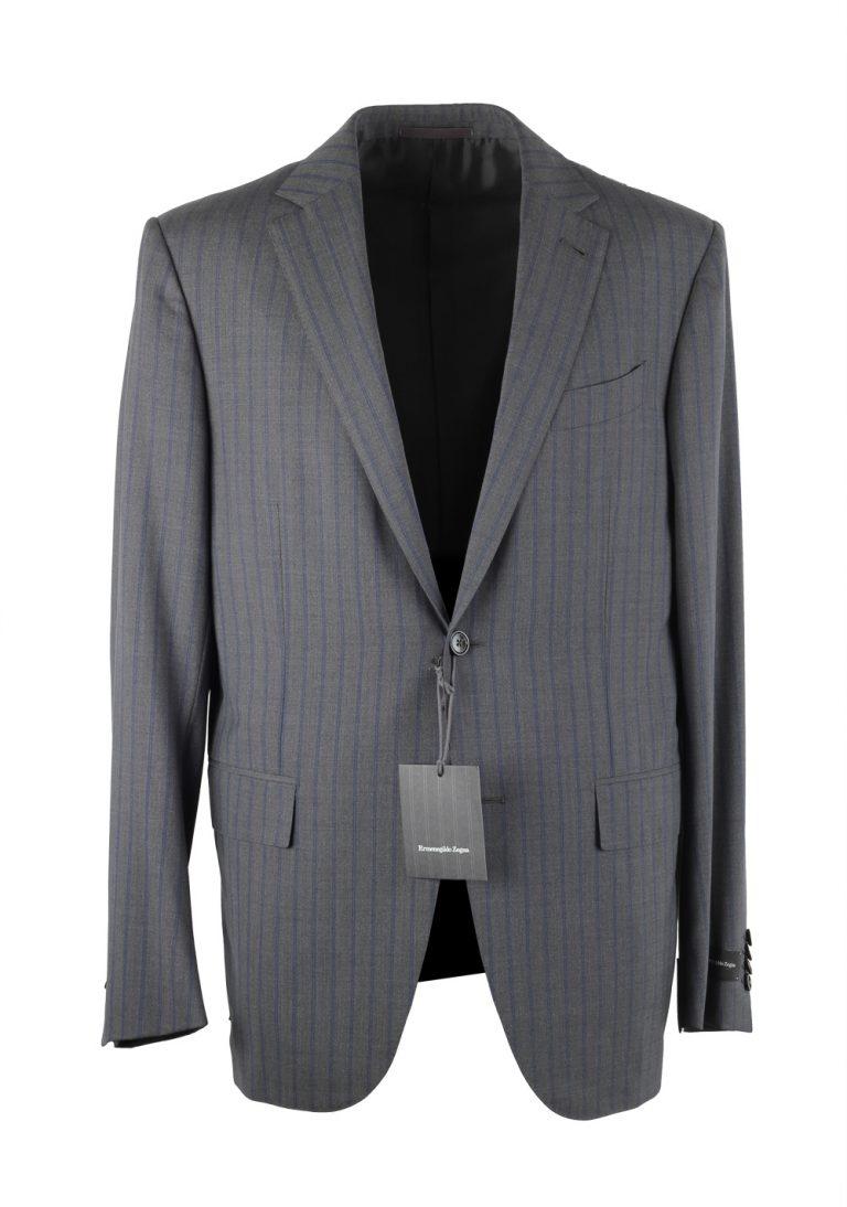 Ermenegildo Zegna Mila Gray Striped Suit Size 50 / 40R U.S. - thumbnail | Costume Limité